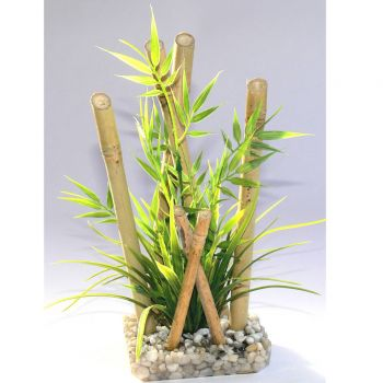 Kunststoffpflanze Bamboo Bambus large 25 cm hoch mit Kies Sockel