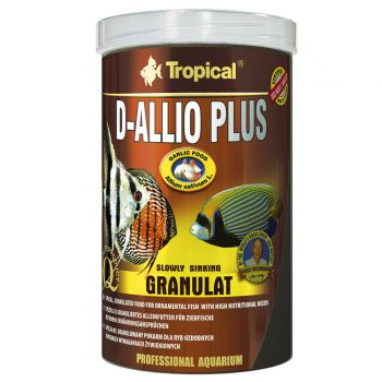 Tropical D-Allio Plus Granulat Futter mit Knoblauch 600 g in 1 Liter Dose