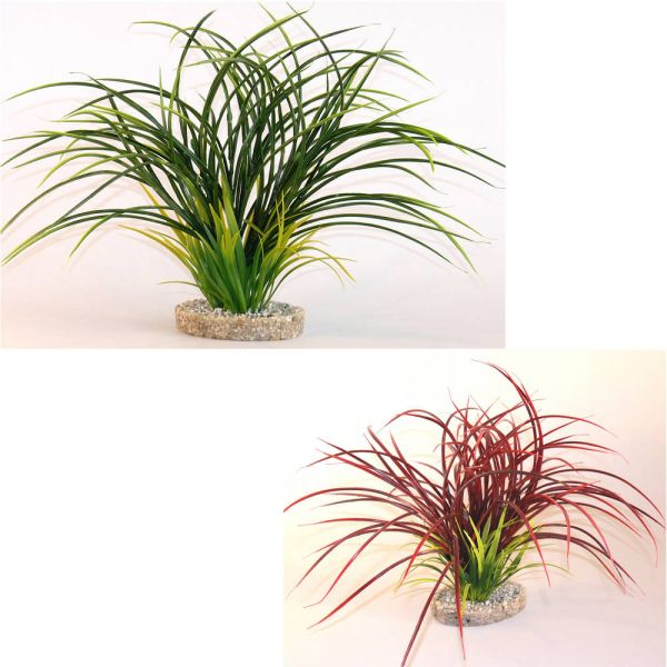 Aquarium Kunst Pflanzen 2er-Set Fan Grass Rot/G...